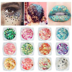 12 Colors Self-adhesive Chunky Body Face Glitter - Holographic Cosmetic Glitter For Hair Eyes Lip, Colorful Mixed Makeup Palette for Festival, No Need Extra Glue