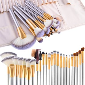 Make up Brushes, VANDER LIFE 24pcs Premium Cosmetic Makeup Brush Set for Foundation Blending Blush Concealer Eye Shadow, Cruelty-Free Synthetic Fiber Bristles, Travel Makeup bag Included, Champagne