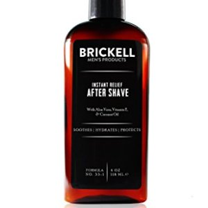 Brickell Men's Instant Relief Aftershave for Men, Natural and Organic Soothing After Shave Balm to Prevent Razor Burn, 4 Ounce, Scented