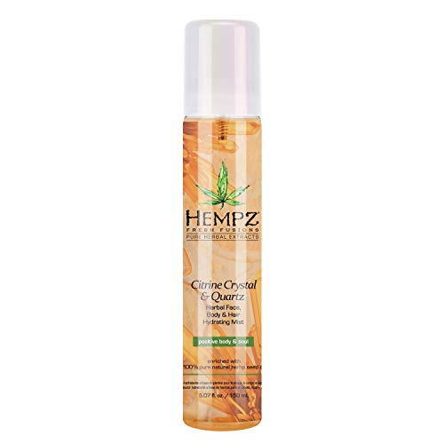 Hempz Fresh Fusions Citrine Crystal & Quartz Herbal Face, Body & Hair Hydrating Mist, 5.07 oz. - Premium, Natural All Over Spray with Pure Hemp Seed Oil and Citrus - Calming Body Spray for Women