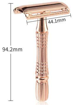 Classic 3-Piece Razor Double Edge Safety Razor Manual Shaver Rose Gold Classic 3-Piece Razor Double Edge Safety Razor Manual Shaver Rose Gold + 5 Sharp Blades with a ABS Case.