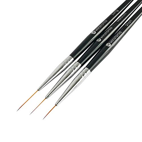 Winstonia Striping Nail Art Brushes for Long Lines, Details, Fine Designs. 3 pcs Striper Brushes Set - AMAZING TRIO
