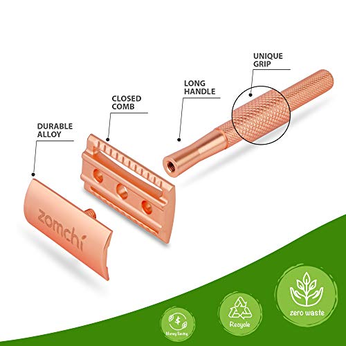 Double Edge Safety Razor for Women, Safety Razor with 5 Blades Double Edge Safety Razor for Women, Safety Razor with 5 Blades, Women Razor with a Delicate Box, Fits All Double Edge Razor Blades,Free of Plastic (Rose Gold).