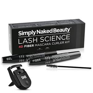 4D Fiber Mascara and Curler Kit by Simply Naked Beauty. Dramatically adds volume and length to natural eyelashes. Highest quality hypoallergenic ingredients, gel and fiber formula. Plus mini curler.