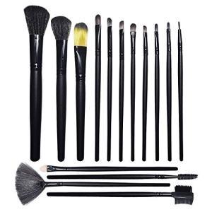 LASOCKETS Makeup Brush Set 15pcs, Premium Face Eyeliner Eye Shadows Blush Contour Foundation Cosmetic Brushes for Powder Liquid Cream with Travel Make Up Brushes Bag
