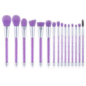 UNIMEIX Makeup Brushes 15 Pieces Makeup Brush Set Premium Face Eyeliner Blush Contour Foundation Cosmetic Brushes for Powder Liquid Cream Purple