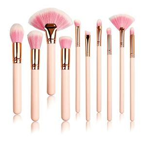 10Pcs Pink Premium Quality Makeup Brush Set Flat Foundation Blush Eyeliner Eyeshadow Brushs Kabuki (Pink)