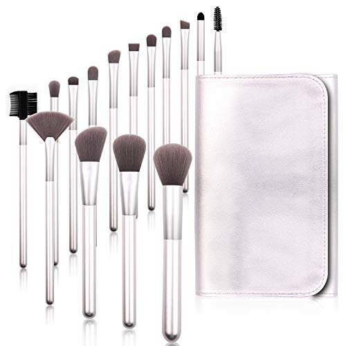 Real Perfection Makeup Brushes, 15 pcs Premium Cosmetic Makeup Brush Set Bamboo Charcoal Synthetic Bristles Foundation Powder Concealers Blending Eye Shadows Face Makeup Brush Kit (Silver)