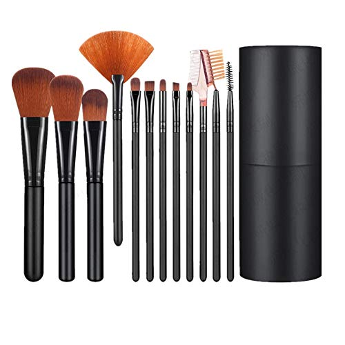 Shiratori Makeup Brush Set with Holder 12Pcs Makeup Brushes Premium Synthetic Foundation Brush Blending Face Powder Blush Concealers Eyeshadow Make Up Brushes Kit - Black