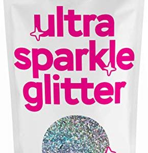 """Hemway FINE Premium Multi Purpose Glitter 1/64"""" 0.015"""" 0.4mm 375 microns Dust/Powder 100g / 3.5oz for Crafts Cosmetic Wine Glass Face Art Nail Skin Beards Festival (Silver Holographic)"""