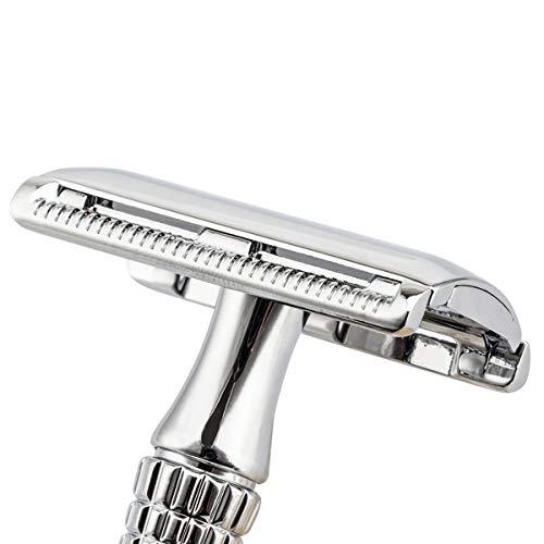 BAILI Classic 3-Piece Double Edge Safety Razor Wet Shaving for Men Women BAILI Classic 3-Piece Double Edge Safety Razor Wet Shaving for Men Women with Platinum Blade and Mirrored Travel Case BD176.