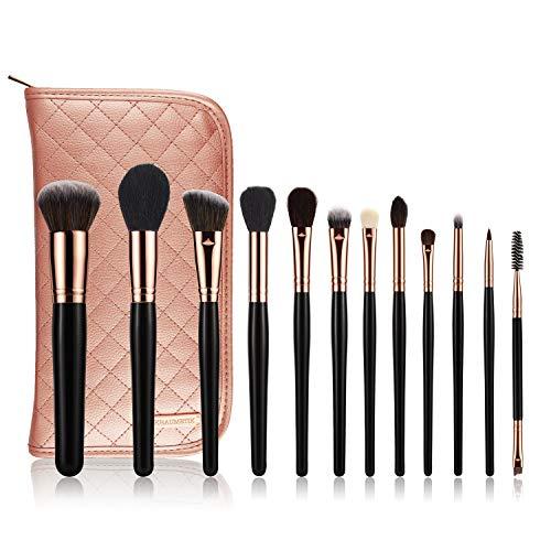 KRAUMETIK 12-Piece Makeup Brushes Set,Premium Synthetic Brush Blending Face Powder Blush Concealers Eye Cosmetics Make Up Kits