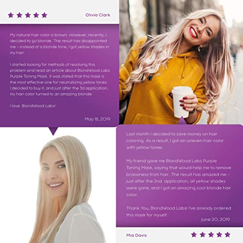 Purple Hair Mask with Retinol & Keratin for Blonde, Platinum Purple Hair Mask with Retinol & Keratin for Blonde, Platinum & Silver Hair - Made in USA - Banish Yellow Hues, Reduce Brassiness & Condition Dry Damaged Hair - Goes Well with Purple Shampoo - 8 oz.