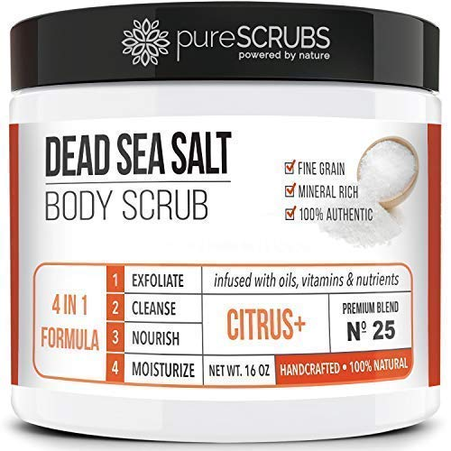 pureSCRUBS Premium Organic Body Scrub Set - Large 16oz CITRUS+ BODY SCRUB - Dead Sea Salt Infused Organic Essential Oils & Nutrients INCLUDES Wooden Spoon, Loofah & Mini Organic Exfoliating Bar
