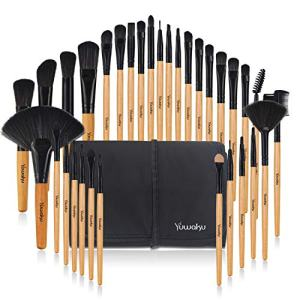 Beige Makeup Brush, Yuwaku 32pcs Wooden Make Up Brushes Set, Premium Synthetic Soft Bristles Kabuki Foundation Powder Eyeshadow Eyeliner Blush Concealer Brush Kit with Nylon Bag