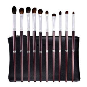ENERGY Eyeshadow Brushes for Makeup Blending Brushes Eye Makeup Set Professional Applying Eye Makeup Blending,Shading,Highlighting,Eye shadow,Eyebrow,Concealer,with Travel Case(10pcs,Dark Red)