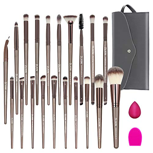ZLXIN Makeup Brushes Set 23 Pcs Premium Synthetic Kabuki Foundation Face Powder Blush Concealers Eye Shadows Make Up Brushes Kit with Storage Bag Blender Sponge and Brush Cleaner (Gold)