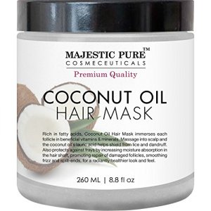 Majestic Pure Coconut Oil Hair Mask, Offers Natural Hair Care Treatment, Hydrating & Restorative Mask Restores Shine, Nourishes Scalp & Provides Deep Conditioning for Dry & Damaged Hair, 8.8 fl oz