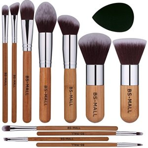 BS-MALL Makeup Brush Set 11Pcs Bamboo Synthetic Kabuki Brush Set Foundation Powder Blending Concealer Eye shadows Blush Cosmetics Brushes with Organizer Bag & Makeup Sponge