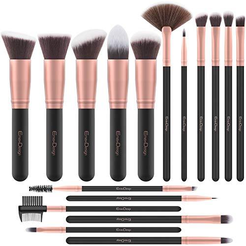 EmaxDesign Makeup Brushes 17 Pieces Premium Synthetic Foundation Brush Powder Blending Blush Concealer Eye Face Liquid Powder Cream Cosmetics Brushes Kit (Rose Gold)