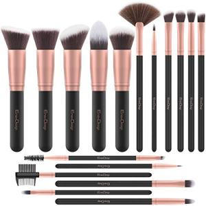 EmaxDesign Makeup Brushes 17 Pieces Premium Synthetic Foundation Brush Powder Blending Blush Concealer Eye Face Liquid Powder Cream Cosmetics Brushes Kit (Rose Gold)