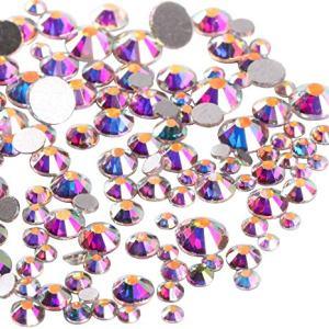 Jollin 3456pcs Flatback Rhinestones Glass Charms Diamantes Gems Stones for Nail Art 6 Size ss4~ss12 Crystal AB