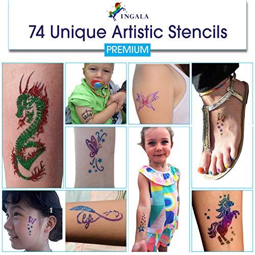 INGALA PREMIUM Glitter Tattoo Kit for Boys and Girls | Unique Professional Glitter INGALA PREMIUM Glitter Tattoo Kit for Boys and Girls | Unique Professional Glitter Tattoos for Kids and Adults | 74 Amazing Glitter Tattoo Stencils | 2 XL (0.5fl oz) Glitter Tattoo Glue. By Ingala.