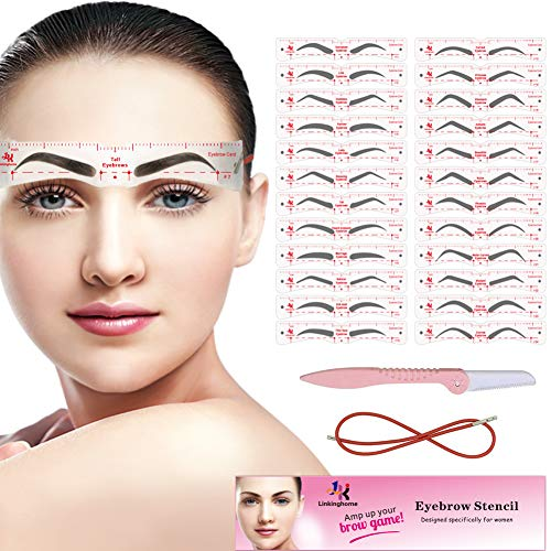 Eyebrow Stencil, 24 Eyebrow Shaper Kit, Reusable Eyebrow Template With Strap, 3 Minutes Makeup, Suitable for 98%