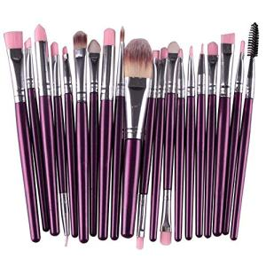 1962 20 PCs Makeup Brushes Premium Synthetic Contour Concealers Foundation Powder Eye Shadows Makeup Brushes with Champagne Gold Conical Handle (Purple)