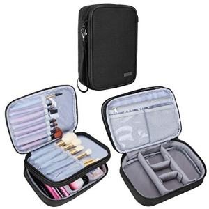 """Teamoy Travel Makeup Brush Case(up to 8.8""""), Professional Makeup Train Organizer Bag with Handle Strap for Makeup Brushes and Makeup Essentials-Medium, Black(No Accessories Included)"""