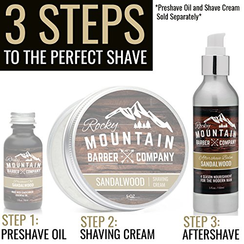 Aftershave Balm For Men – With Natural Sandalwood Essential Oil Aftershave Balm For Men – With Natural Sandalwood Essential Oil – 5 Ounce – Moisturizer Face Cream to Prevent Razor Burn & Dry Skin After Shaving by Rocky Mountain Barber Company.