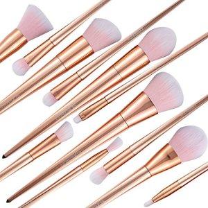 NEXGADGET Makeup Brushes Premium Makeup Brush Kit Synthetic Kabuki Cosmetics Foundation Blending Concealer Blush Eyeliner Face Powder Cream Lip Brush Cosmetics Tool(12pcs, Rose Gold)