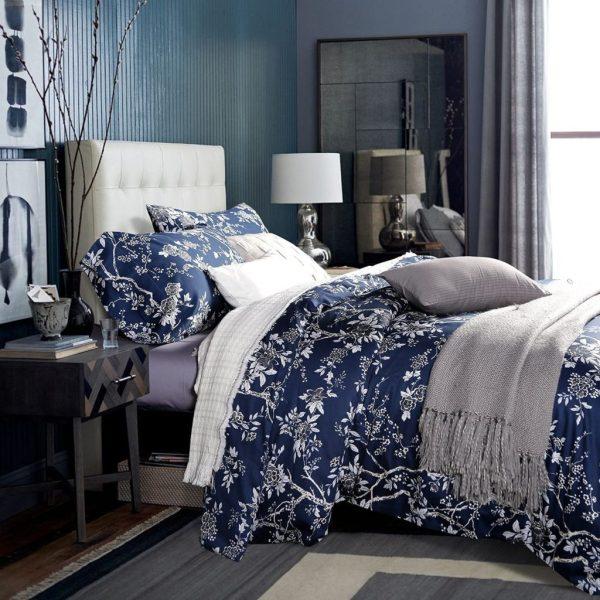 Navy Blue and White Floral Duvet