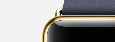 Apple-Watch-Or-jaune-Bracelet-bleu-luxe
