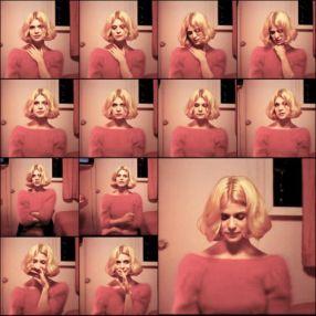 pink sweater blonde bob