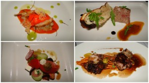 (clockwise) grilled prawns, coppa di testa, veal ribs, Greek salad,