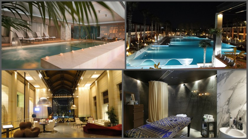 (upper left & lower right) spa. photos courtsey of Hotel Nikopolis. (upper right & lower left)  pool &lobby. photos © Marc d'Entremont www.travelpenandpalate.com