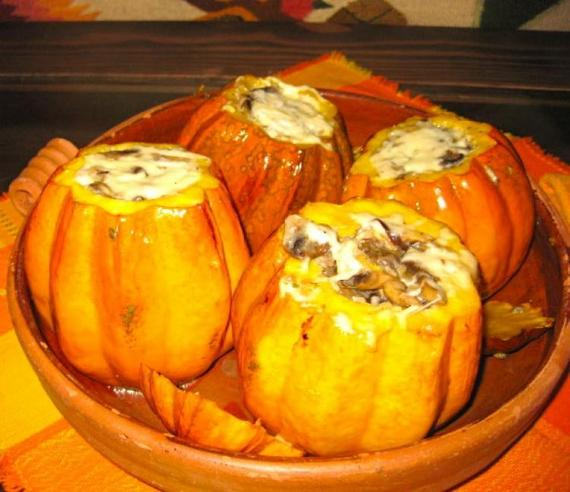 Fire-Roasted Pumpkin Filled with Wild Mushroom Risotto and Mascarpone