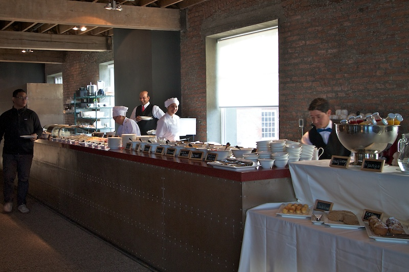 Breakfast and lunch are served in the second floor dining area