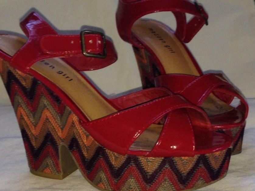Red Patten Sandals on a Weggie Heel.