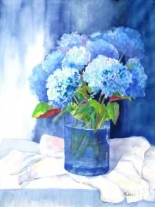 Blue Hydrangeas, $500
