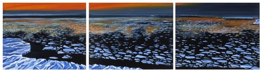 """Iceberg Wasteland"", triptych, oil on linen, 24"" x 90""."