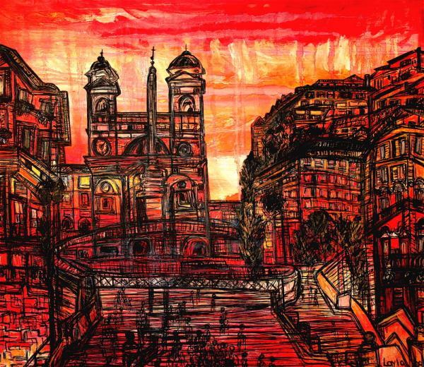 "Rome-Spanish Steps 42"" X 44"" Oil on Linen. ©Layla Fanucci"