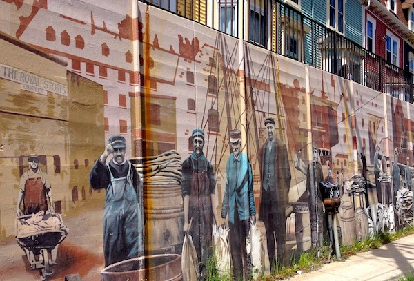 Mural depicting history of cod fishing