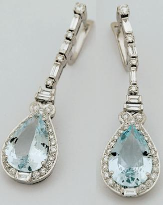 E0058 - Earring in Diamond & Aquamarine - $7,500
