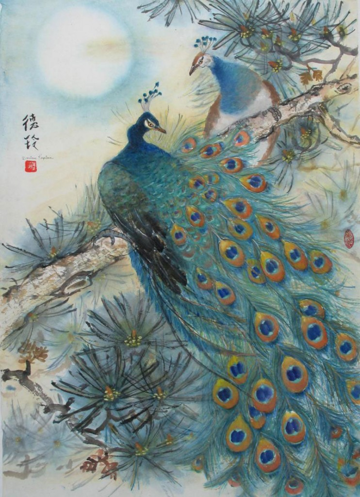 Darlene Kaplan, Hey Goegeous: Peacocks Courting, Oriental Brush Painting. Chinese mineral colors on acid free rice paper, 37″ x 26″