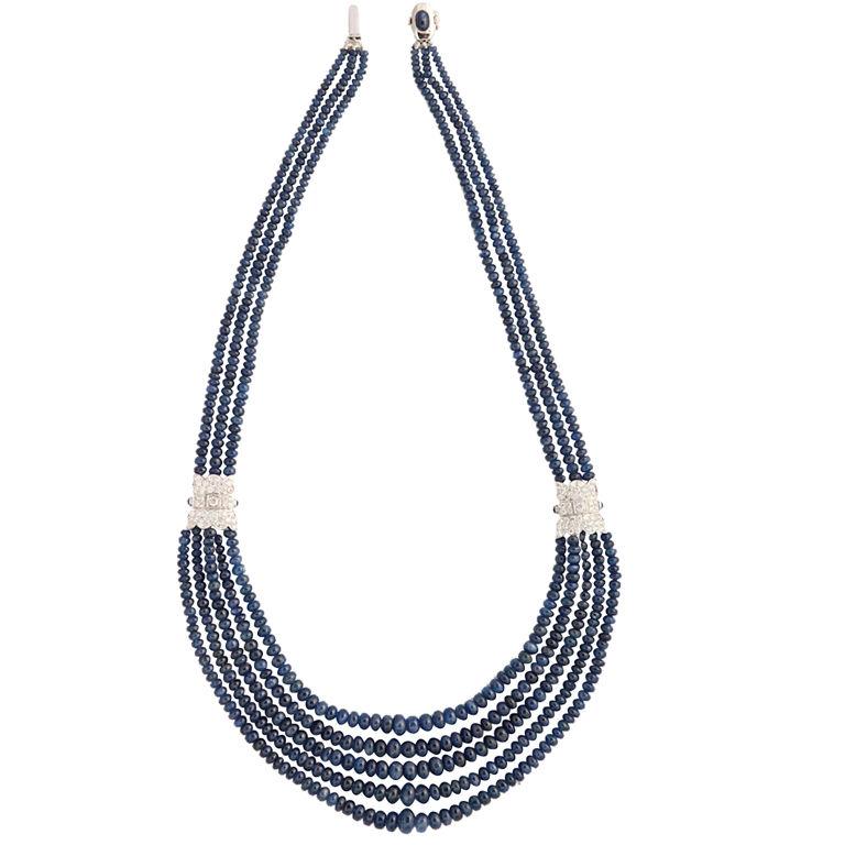 XXX_86 - Necklace in Diamond & Sapphire Beads - $9,000