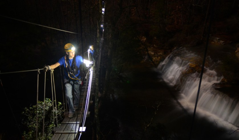 Suspension Bridge at night.