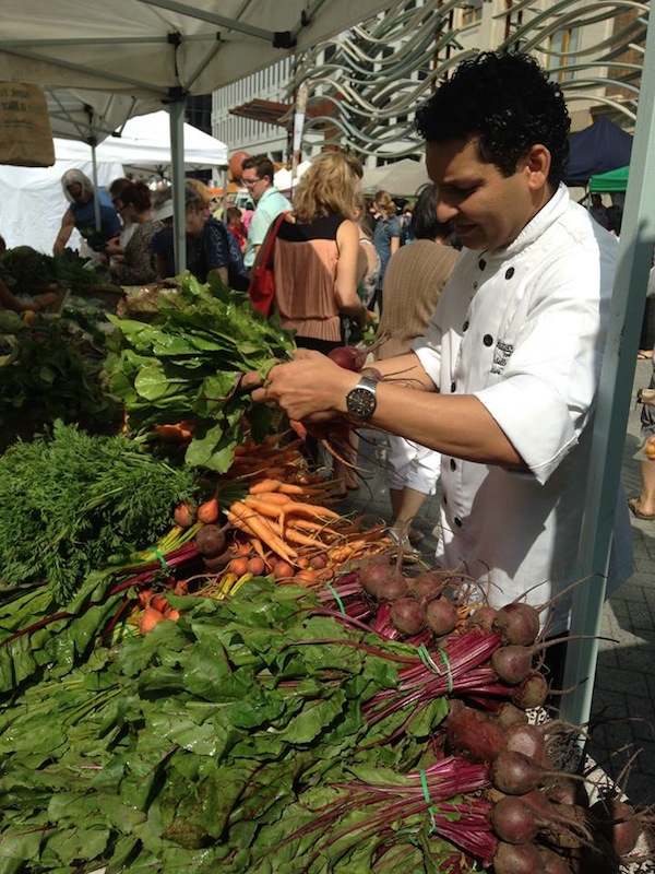 Chef Milton at Regina Farmers' Market, courtesy of Hotel Saskatchewan