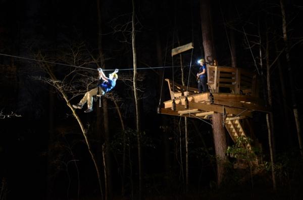 Ziplining at night